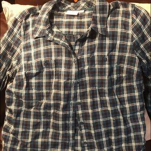Button down long sleeve plaid shirt size L